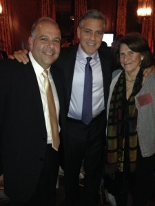Armenian Assembly of America Board of Trustees Co-Chairman Anthony Barsamian and Board President Carolyn Mugar with George Clooney in New York City at the launch of the 100 Lives initiative for human rights