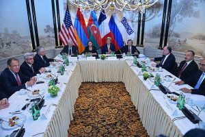 The Vienna meeting, with the OSCE Minsk Group leaders, including US Secretarty of State John Kerry, with the Russian and Armenian delegations at left, and the Azeri delegation at right