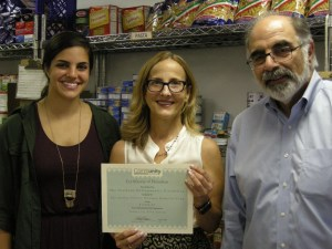 From left, Sarah Halejian, Jennifer Johnson from Center for Food Action, Barry Halejian Photo Credit: Andrea Tilbian Halejian Memorial Fund Advisory Committee