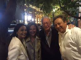 Michael Caine and his wife, Shakira, with two other diners at Dolmama