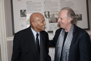 Harry Belafonte, left, shares a moment with Roger Brown, President of Berklee College of Music (Photo Leo Gozbekian)