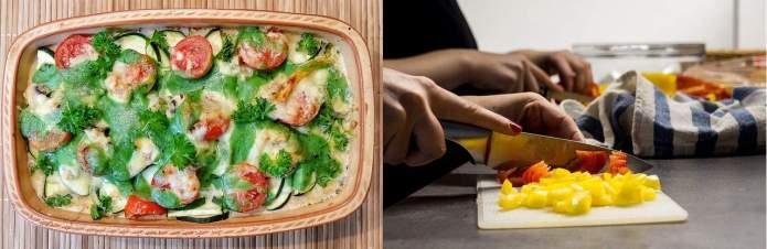 Lekkere groenteschotel en het snijden van groenten