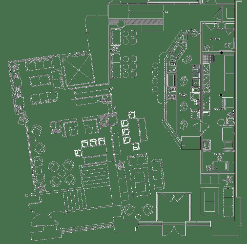 Bourbon Coffee Shop Project restaurant kitchen design floorplan