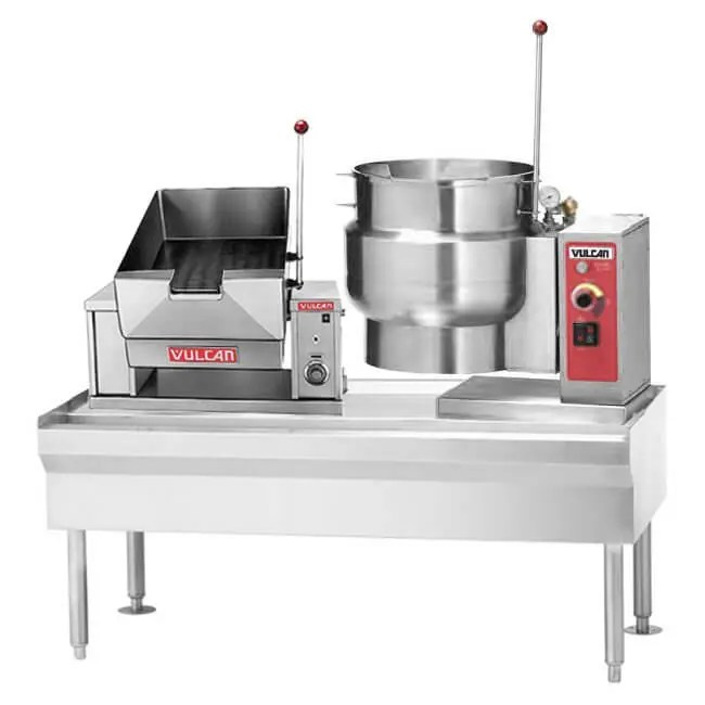 table mounted combination small braising pan and small commercial kitchen steam kettle