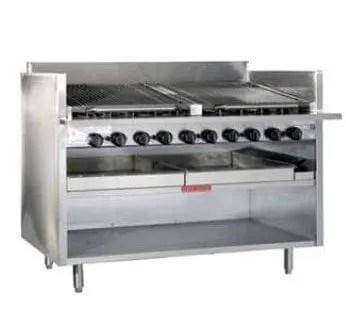 large commercial freestanding ceramic restaurant kitchen charbroiler