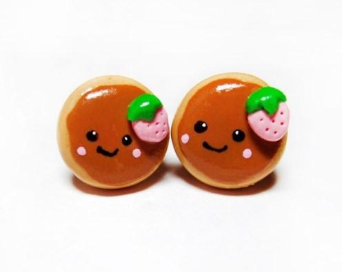 Pink Strawberry Pancake Post Earrings