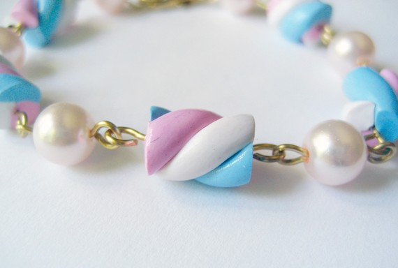 Pink White and Blue Marshmallow Bracelet