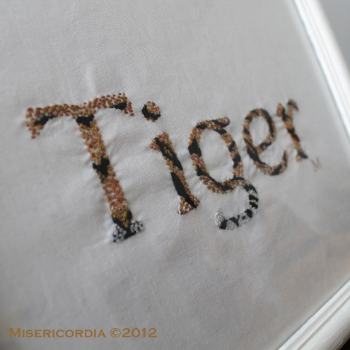 Tiger hand embroidery by Misericordia 2012