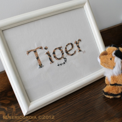 Tiger hand embroidery - Misericordia 2012