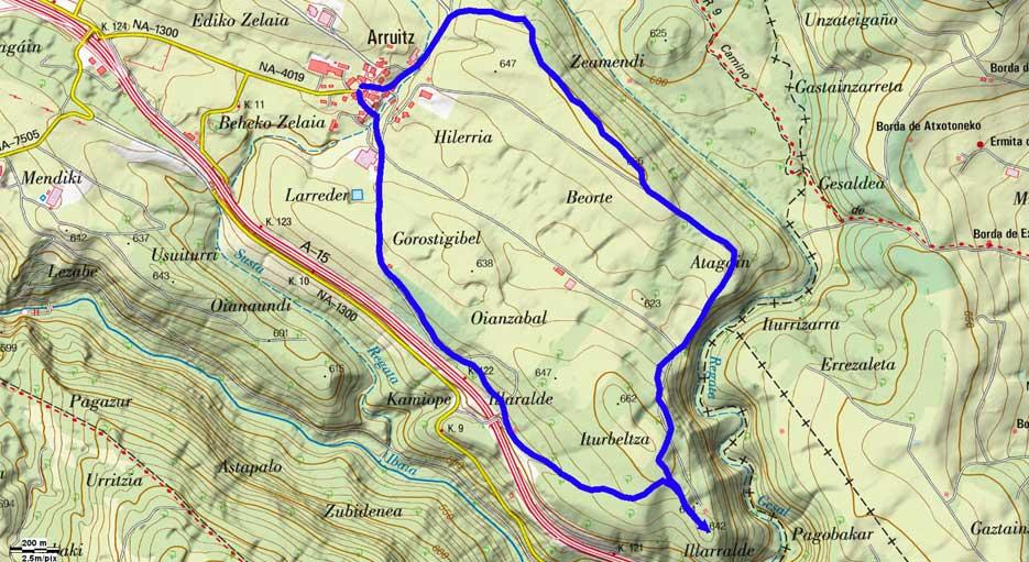 Mapa de la ruta 496