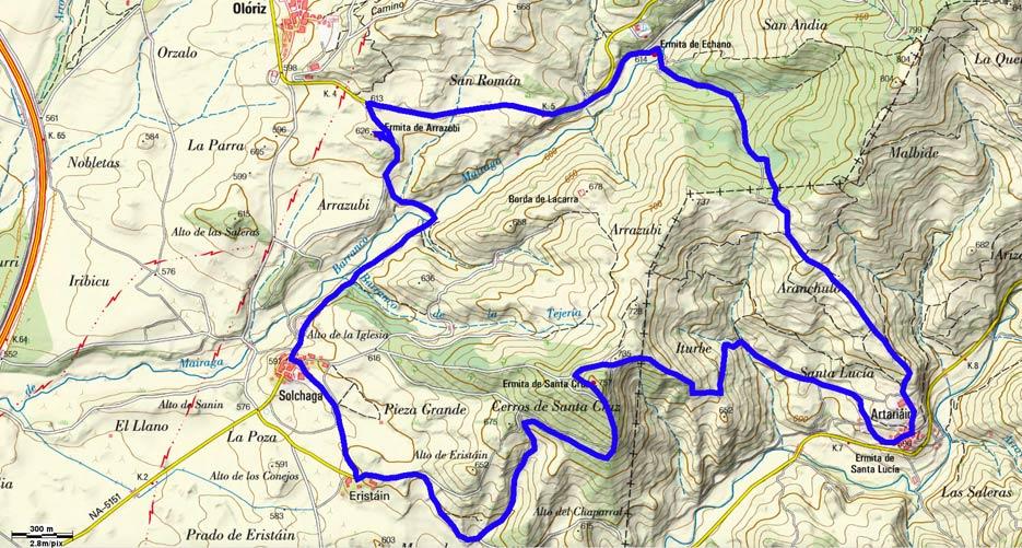 Mapa del recorrido 505