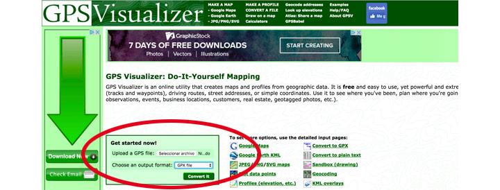 gpsvisualizer conversor de tracks
