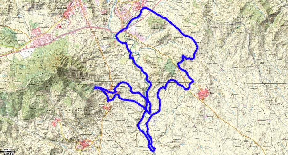 Mapa del recorrido 210btt