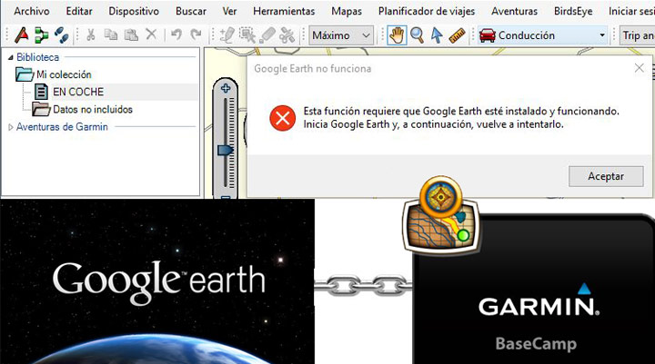 Fallo conexión Garmin BAsecamp y Google Earth