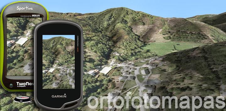 Ortofotomapas dentro de un Garmin GPS