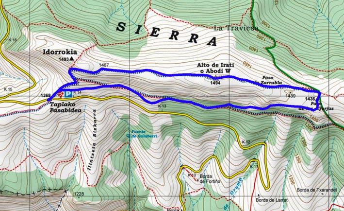 Mapa del recorrido 700 sobre mapa de Alpina