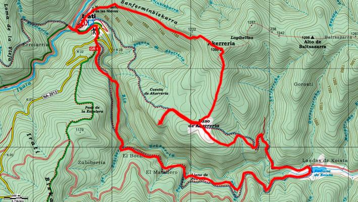 Mapa del recorrido 701 sobre mapa de Alpina