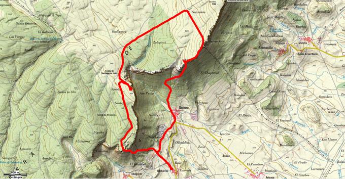 Mapa del recorrido 709