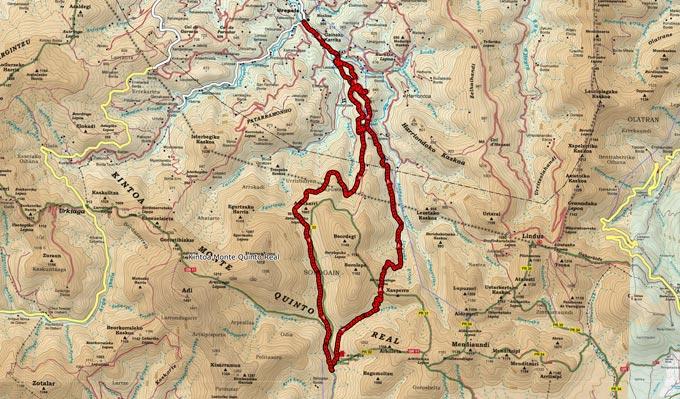 Mapa de la ruta 721 sobre cartografía de Ed. Alpina