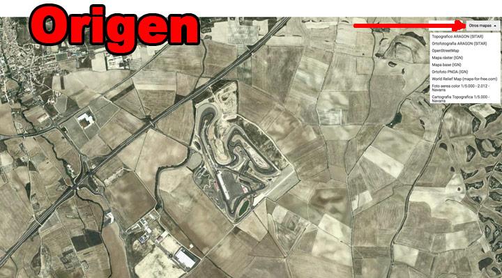 Nuestra zona de dibujo ya centrada y con el mapa elegido (foto aérea de serie)