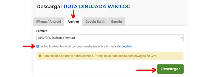 Opciones de descarga de un track en Wikiloc