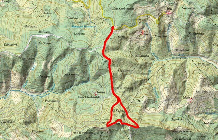 Mapa del recorrido 793
