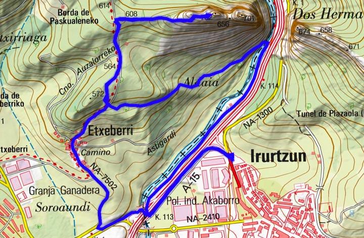 Mapa del recorrido 841