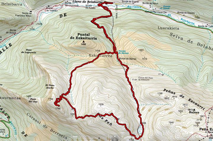 Mapa del recorrido 874