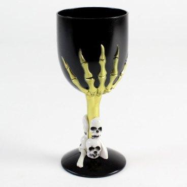 Halloween frecuentado Negro Plástico copa de vino   Misfiestas.es