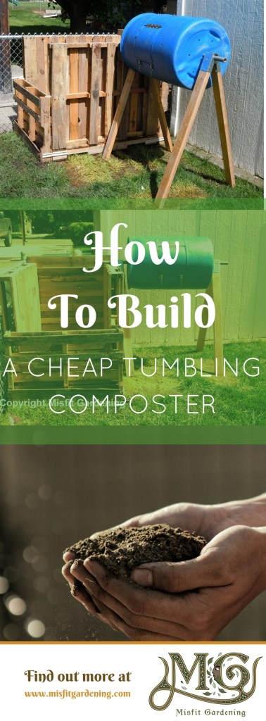 How to build a tumbling composter from a plastic drum. Click to find out how to make it or pin it and save it for later.