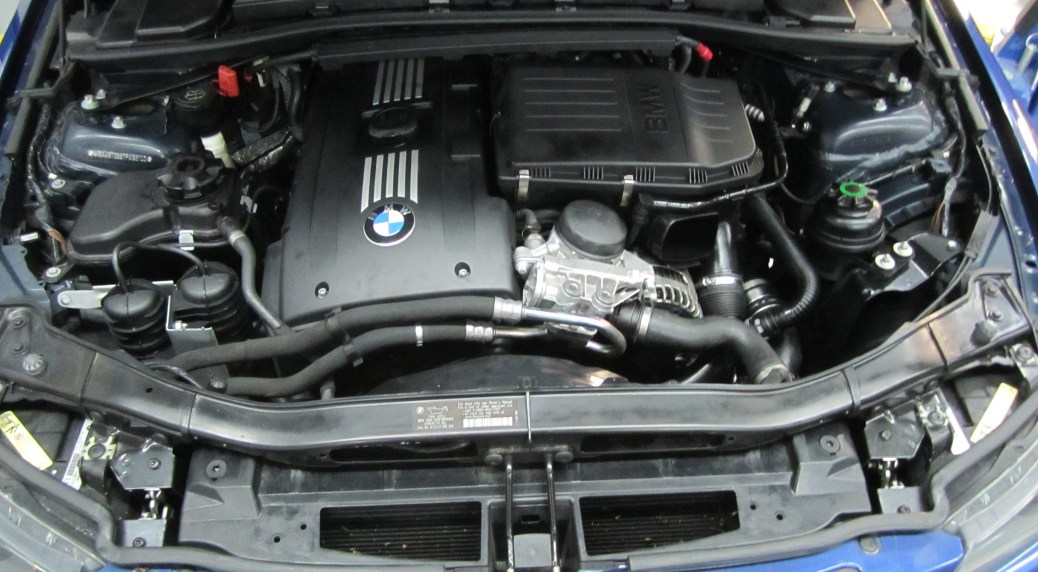 Stock BMW E90 engine bay