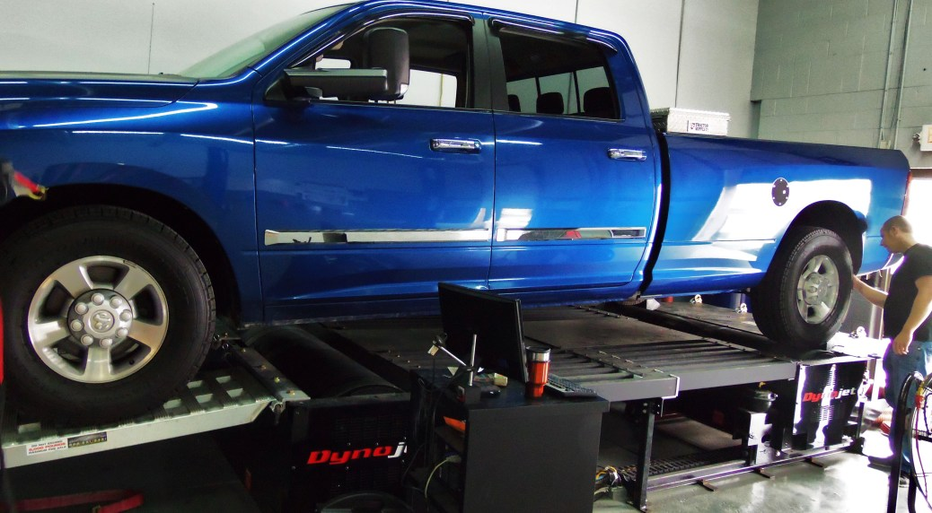 Test truck on dynamometer
