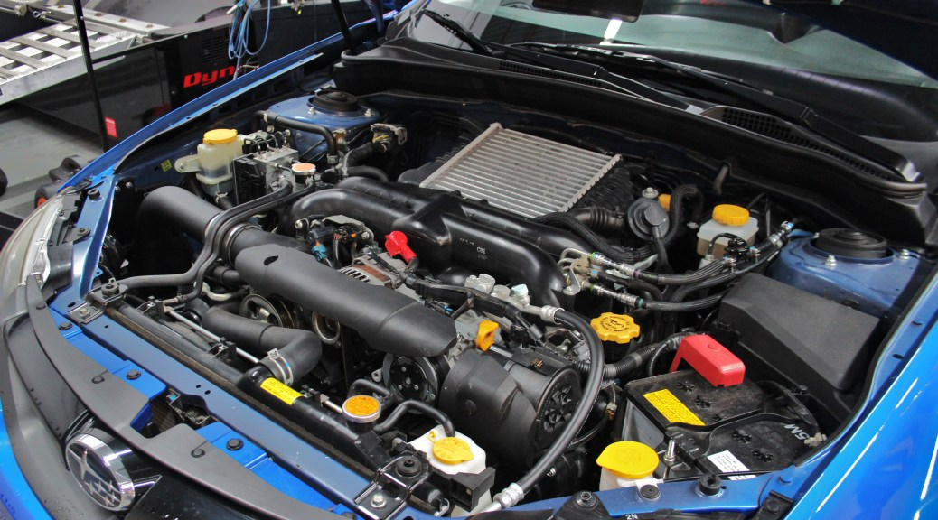 2011 WRX test-fit vehicle engine bay