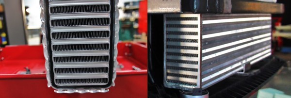 Example of tube-and-fin (left) and bar-and-plate (right) intercooler cores.