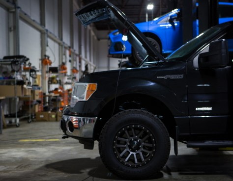 While this F-150 is in our shop to be improved on, this is not the setting you would want to find your truck in. The first run of EcoBoost F-150s had to make their way back to the shop.