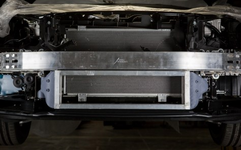 Even without the stock comparison, you can already tell that this new intercooler is going to be much larger.