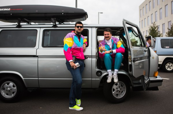 Marshall Farthing of Detroit, left, and Mike McAdoo of Washington D.C. show off their 80's garb in front of McAdoo's VW Vanagon. Radwood brought both long distance and Philly area attendees alike.