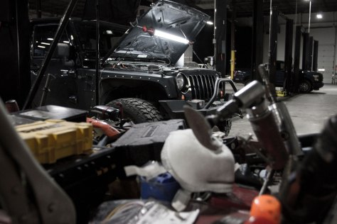 Our volunteer Jeep JK awaiting its new coolant filter