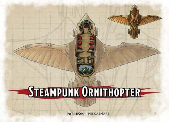 Steampunk ornithopter deckplans