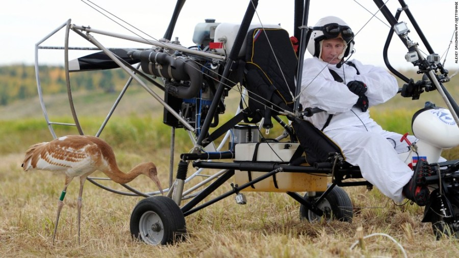 Did I mention Putin hang gliding with a crane?