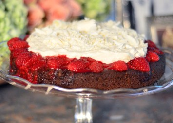 Chocolate Truffle Torte with Strawberry Sauce