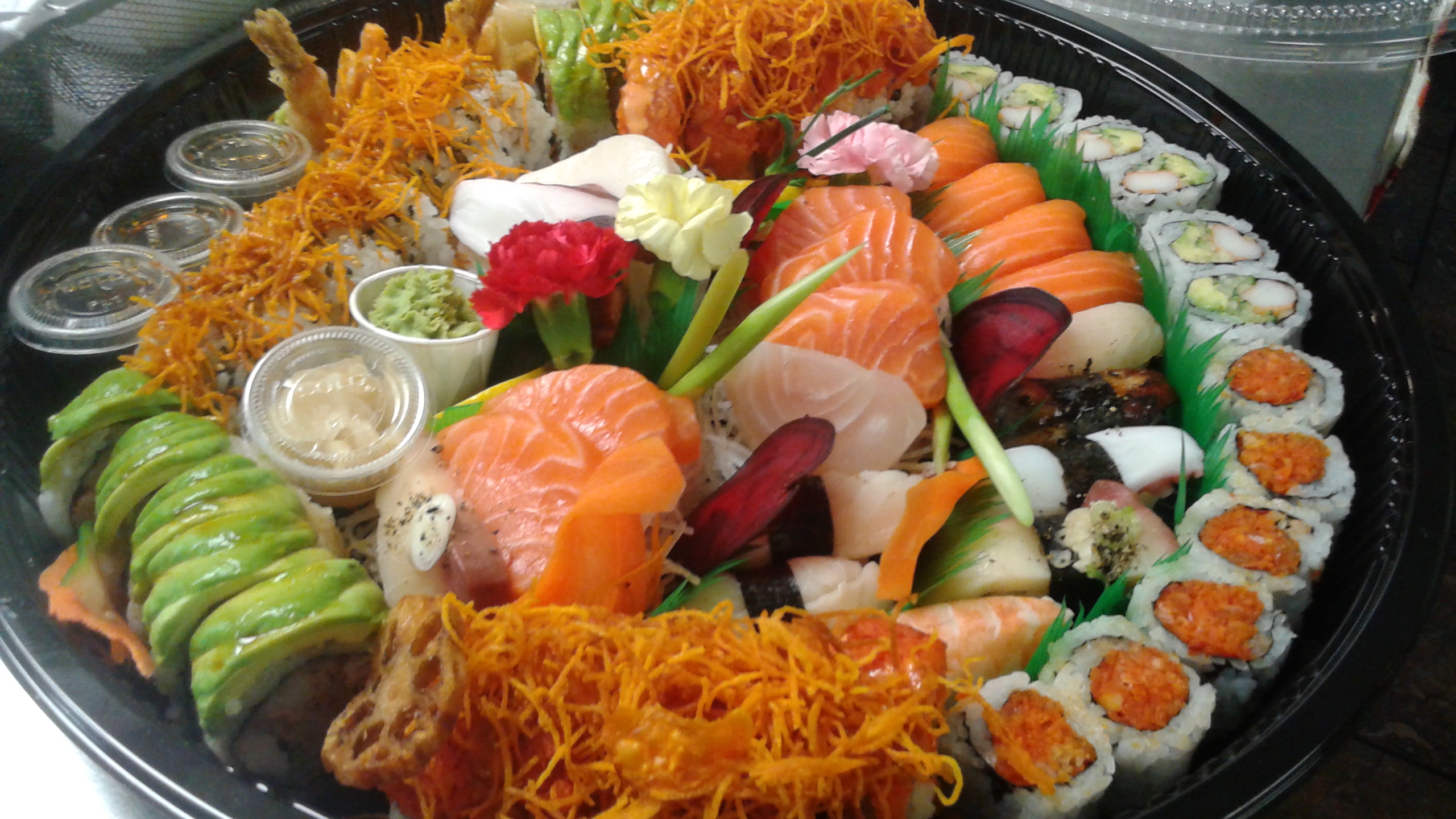sushi sashimi and roll party tray » misoya sushi