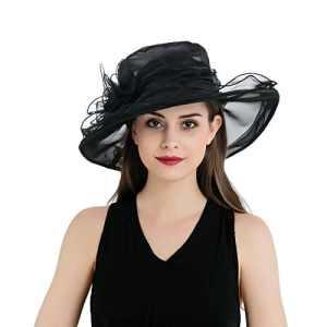 Dantiya – Chapeau de soleil Femme Amovible Rose Mousseline de soie Elégante 8 Couleur (noir )