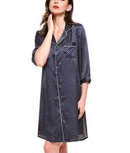 ADOMER Chemise de Nuit Longue Vêtement de Nuit en Satin Bleu à Pois L