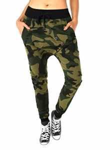 BAISHENGGT – Femme Tendance Pantalon Baggy Sweatpants avec Rangee de boutons Camouflage XL