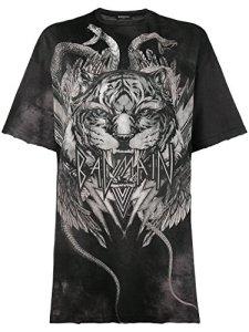 Balmain Femme 103493664Ic5164 Gris/Noir Coton T-Shirt