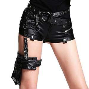 Devil Fashion Gothique Punk Pu Sacs Ceinture en cuir Sac Skull et Gear Studded Ceinture Rock Drop Leg Sacs Ceinture l¨¦g¨¨re Paquet