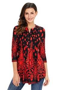 Dokotoo Femme T-shirt Manche 3 4 Imprimé Fleur Tunique Lâche Blouse Femme et Top Chic