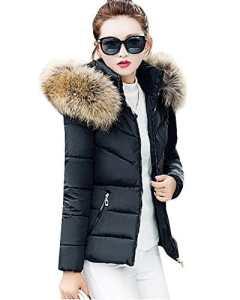 Femme Section courte Slim à capuche épais Grande taille Manteau en coton Veste matelassée Noir S