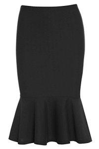 Jupe Noire avec Ourlet Peplum – Femme, Noir, EU 36